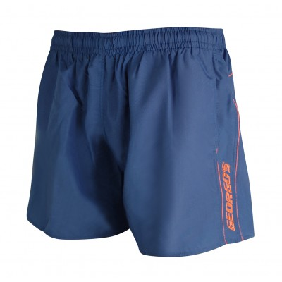Мъжки шорти за плуване - петролено синьо с оранжев кант