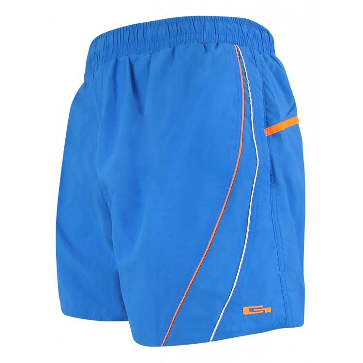 Мъжки шорти за плуване - синьо с бял и оранжев кант