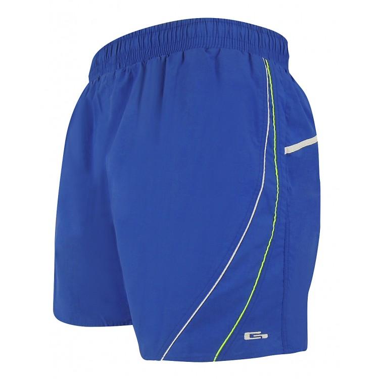 Мъжки шорти за плуване - синьо със сребърен и бял   кант