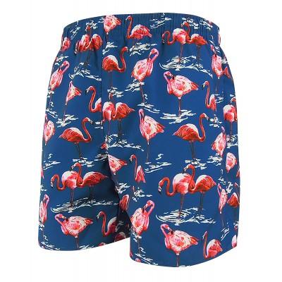 Мъжки шорти за плуване - тъмно синьо с розови фламинга