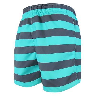 Мъжки шорти за плуване - щампа рае тъмно сиво и тюркоаз