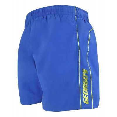 Мъжки шорти за плуване - синьо с ярко жълт кант