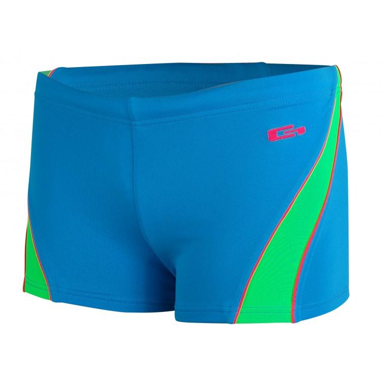 Детски бански боксер за плуване-синьо с ярко зелено и фусия