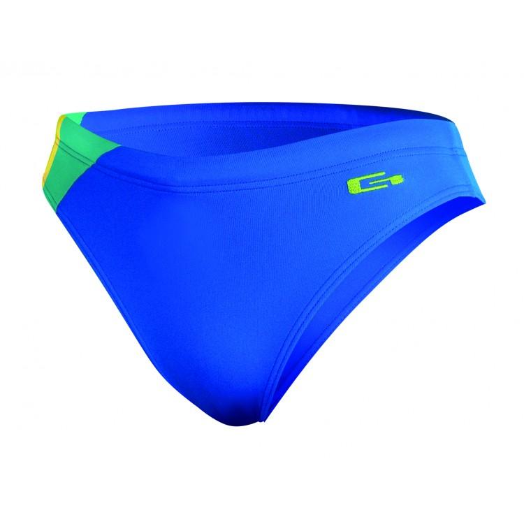 Детски бански слип за плуване-синьо със зелено и жълт кант