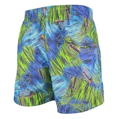 Мъжки шорти за плуване - щампа синьо-зелени дънки