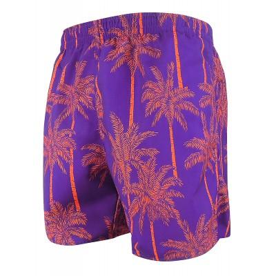 Мъжки шорти за плуване - щампа лилаво с оранжеви палми