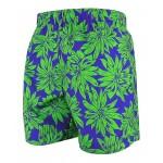 Мъжки шорти за плуване - щампа тъмно лила със зелени зветя