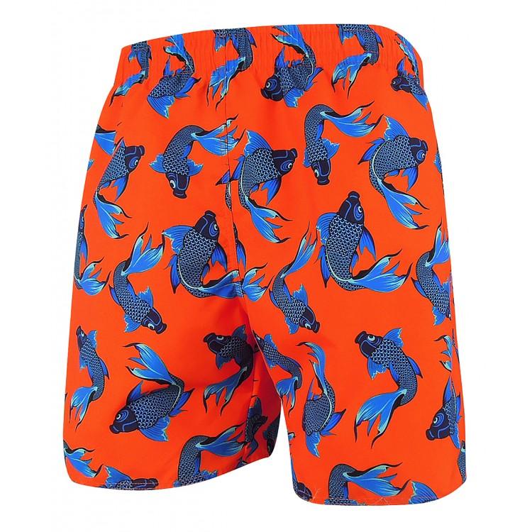 Мъжки шорти за плуване - щампа червено със сини риби