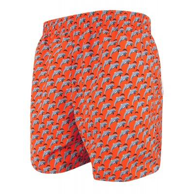Мъжки шорти за плуване - щампа червени делфини