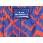 Мъжки шорти за плуване - щампа змийска кожа червено със синьо