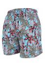 Мъжки шорти за плуване - щампа светло синьо с черни палми
