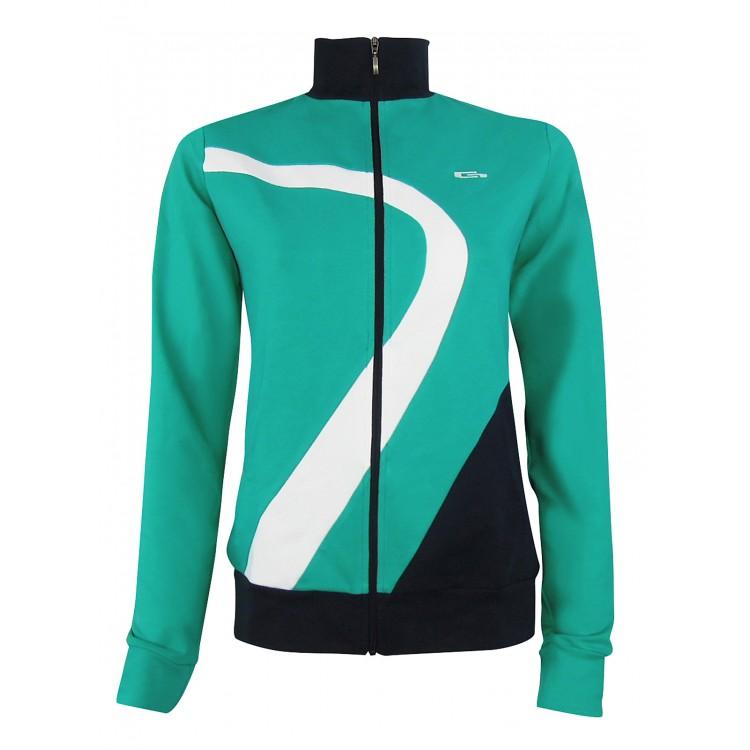 Дамско горнище - Зелено с тъмно синьо и бяло