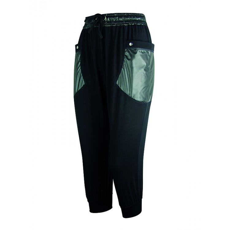 Дамски 7/8 панталон със странични джобове от лъскав плат