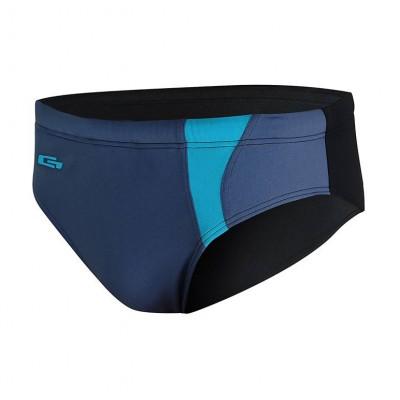 Мъжки бански слип за плуване - синьо металик с черно и светло синьо