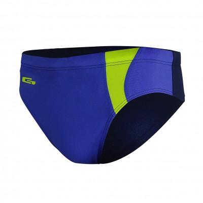 Мъжки бански слип за плуване - турско синьо с тъмно синьо и светло зелено