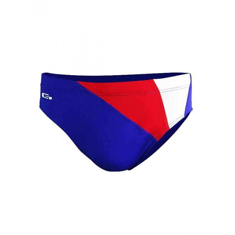 Мъжки бански слип за плуване - синьо с червено и бяло