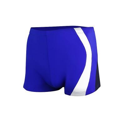 Мъжки бански боксер за плуване - синьо с тъмно синьо и бяло