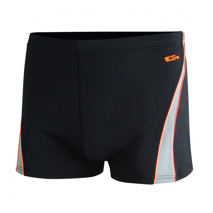 Мъжки бански боксер за плуване - черно със сиво и оранжево